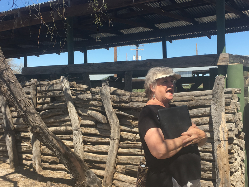 A docent speaks in front of the wood wall and semi-modern metal covered area of the corale at the Historic Canoa Ranch.