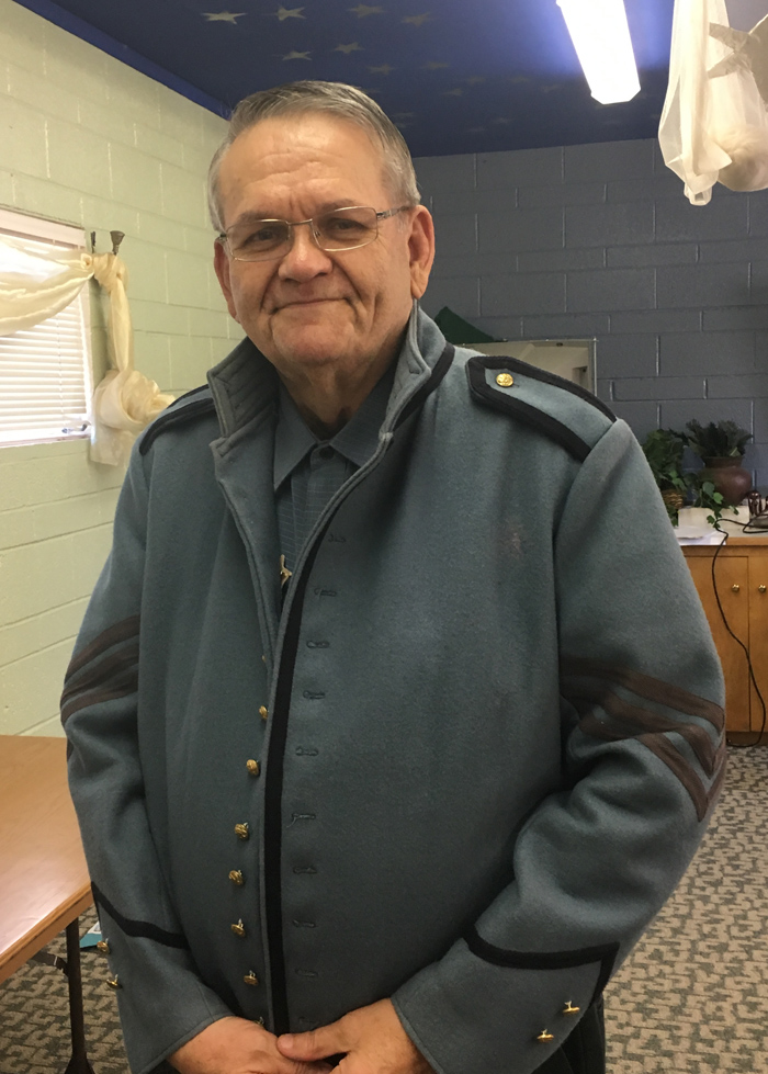 Wayne Wesolowski from the Casden Toy Train Museum wears his replica civil war jacket made of grey wool.  Earlier he provided a detailed history of the Lincoln Memorial Train on its 20 day national journey to the President's final resting place.