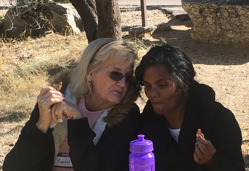 Geri and Hema chat it up during lunch at Sabino Canyon.