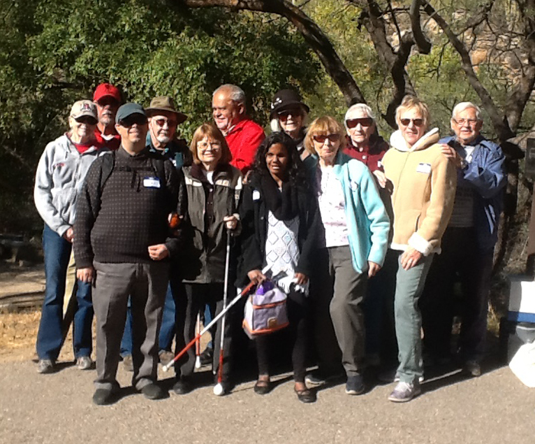 Over a dozen members and volunteers of TSB rode the Sabino Canyon tram to the top and stopped at a lovely quiet picnic area on the way back down where they enjoyed bagged lunches.